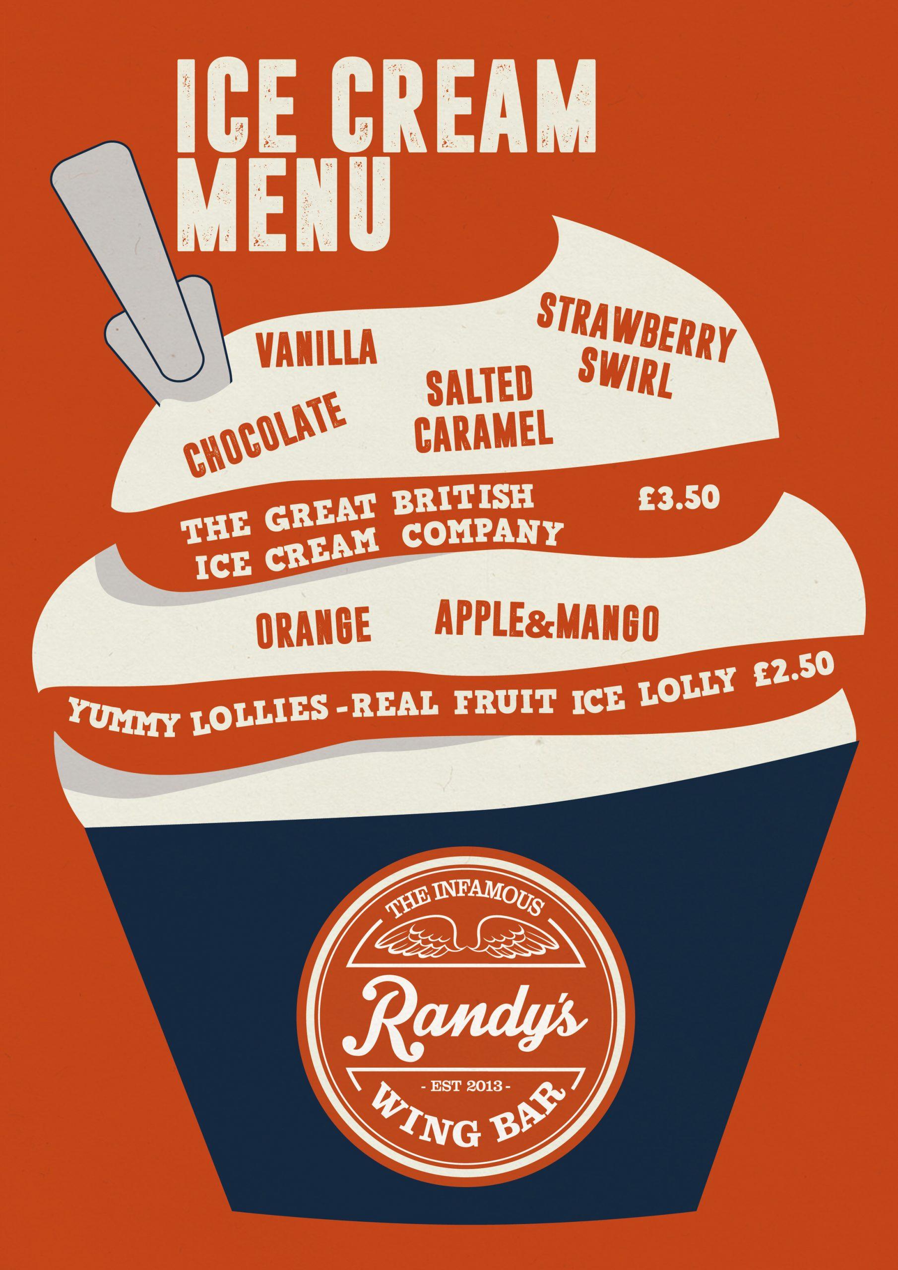 Randy's wing bar Takeaway Icecream Menu 2020