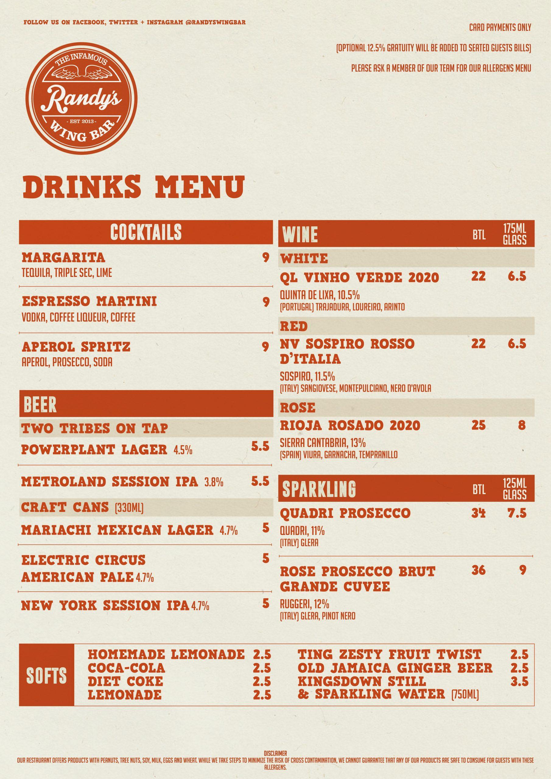 Randy's Wing Bar Takeaway Drinks Menu